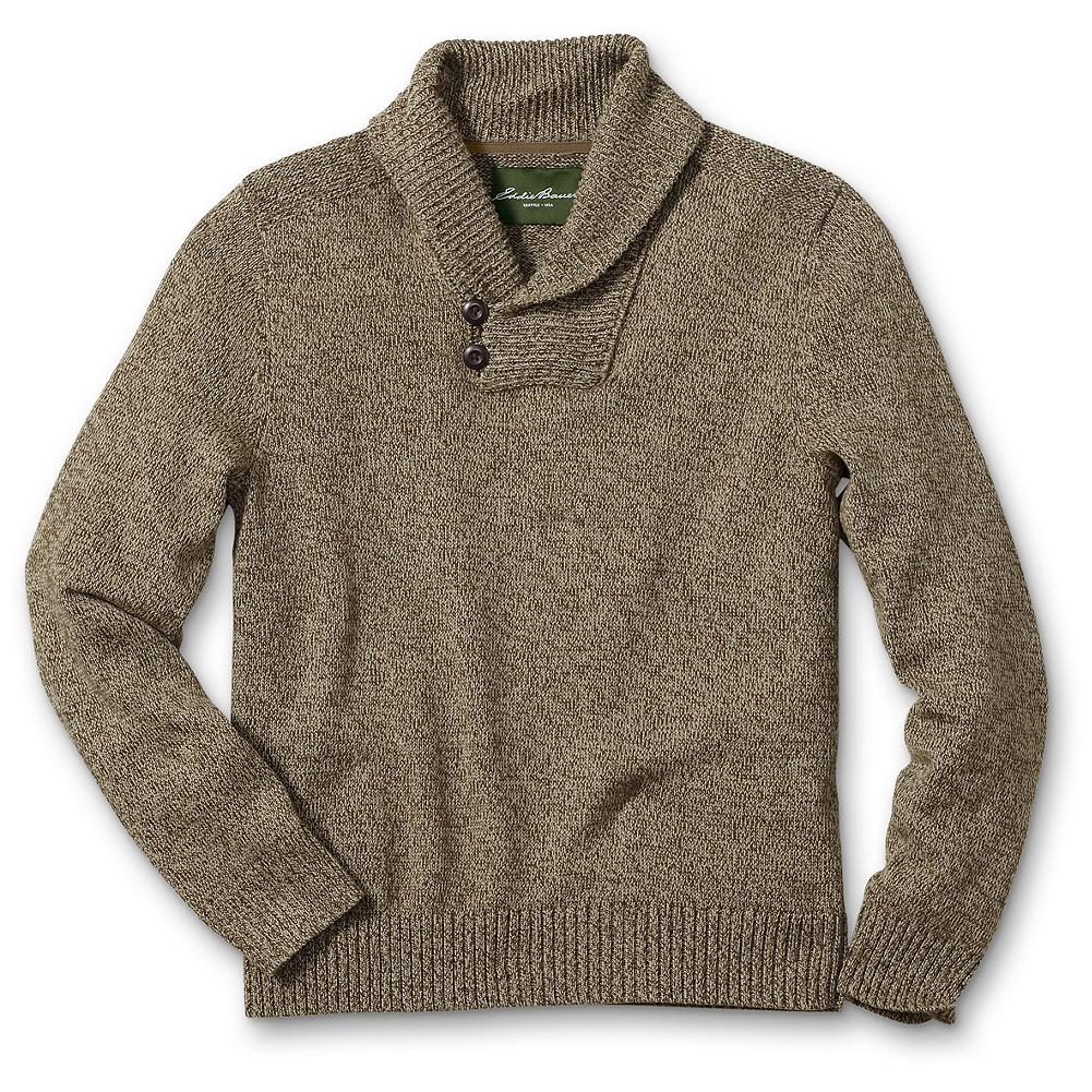 Eddie Bauer Classic Fit Cotton Marl Shawl Sweater - Layer this comfortable yet sophisticated cotton sweater over our Signature Twill button-downs when you're in the mood for rustic sportsman style. It's a winning combination of comfort and class with the distinct twisted texture of marled yarn, ribbed details, and a refined two-button shawl collar. Imported. - $64.95