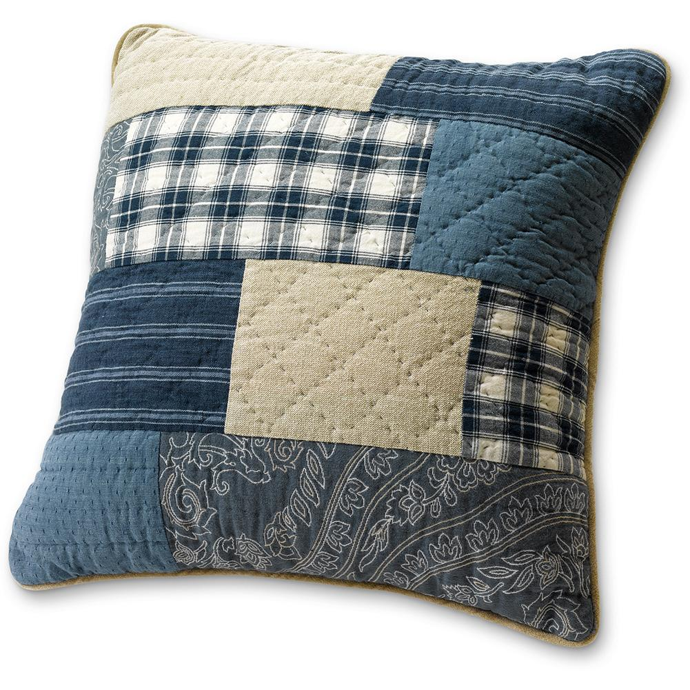 Entertainment Eddie Bauer Weathered Blues Collection Throw Pillow Cover - With its exclusive hand stitching and quilt block pattern, this pillow cover adds a touch of comfort in an authentic heritage style, and complements our Weathered Blues Collection perfectly. Finished with velvet piping. Made in Portugal. - $14.99