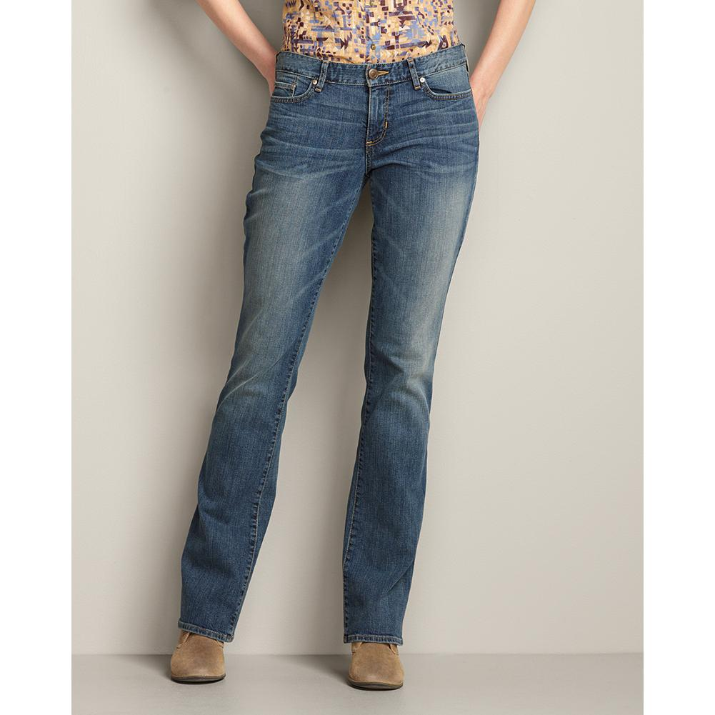 Eddie Bauer Slightly Curvy Boot Cut Jeans - Sits below natural waist; mid-rise. Moderately curvy through hip and thigh. Boot cut leg. Modified hourglass body shape. - $59.95