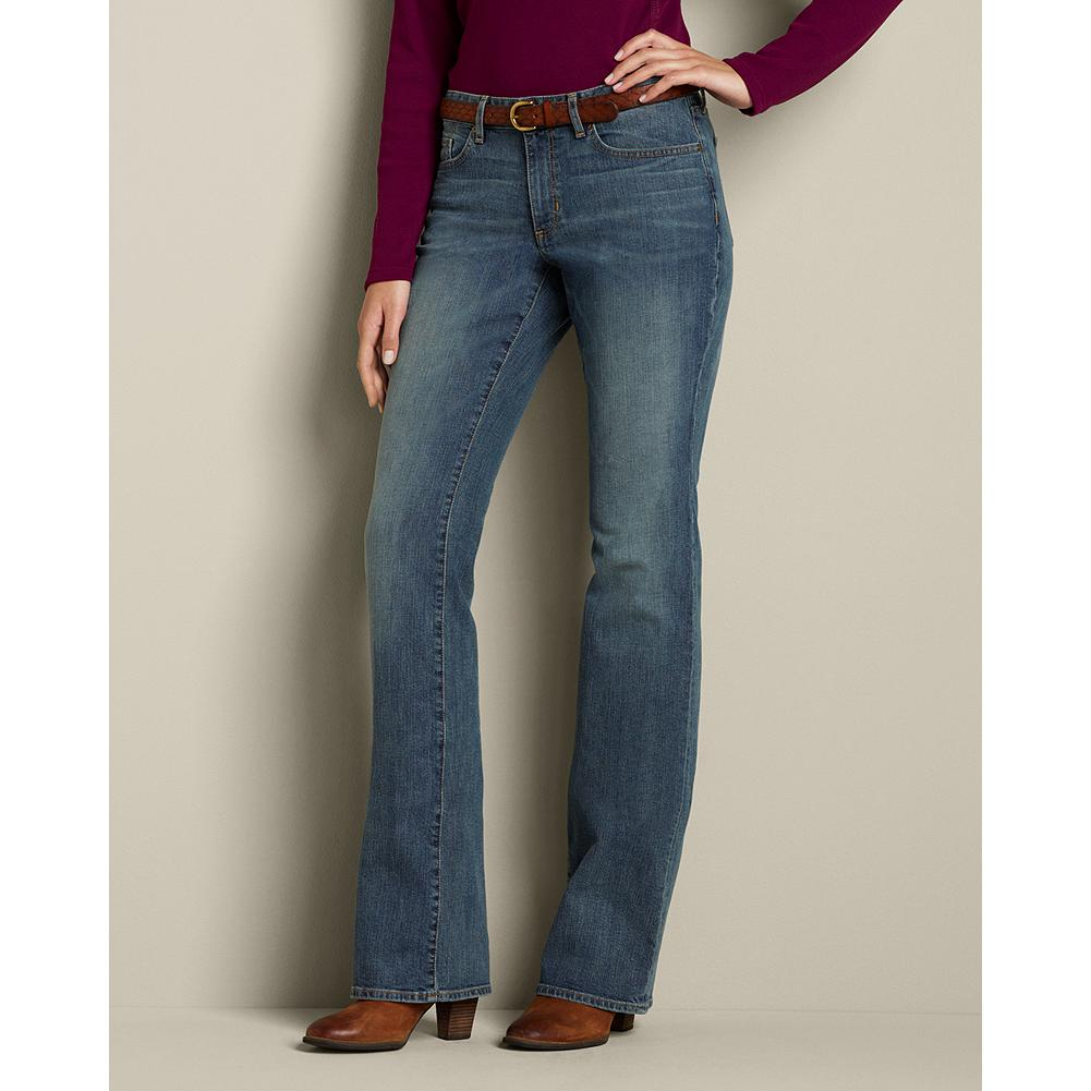 Eddie Bauer Curvy Boot Cut Jeans - About the fit: Smaller waist; mid-rise. Fuller hip and thigh. For a true hourglass body shape. Boot-cut leg balances the curve of the hips, creating a longer, leaner look. Antique is a classic medium wash, tinted for an aged look; subtle hand-sanding and whiskering add the perfect finishing touches. - $59.95