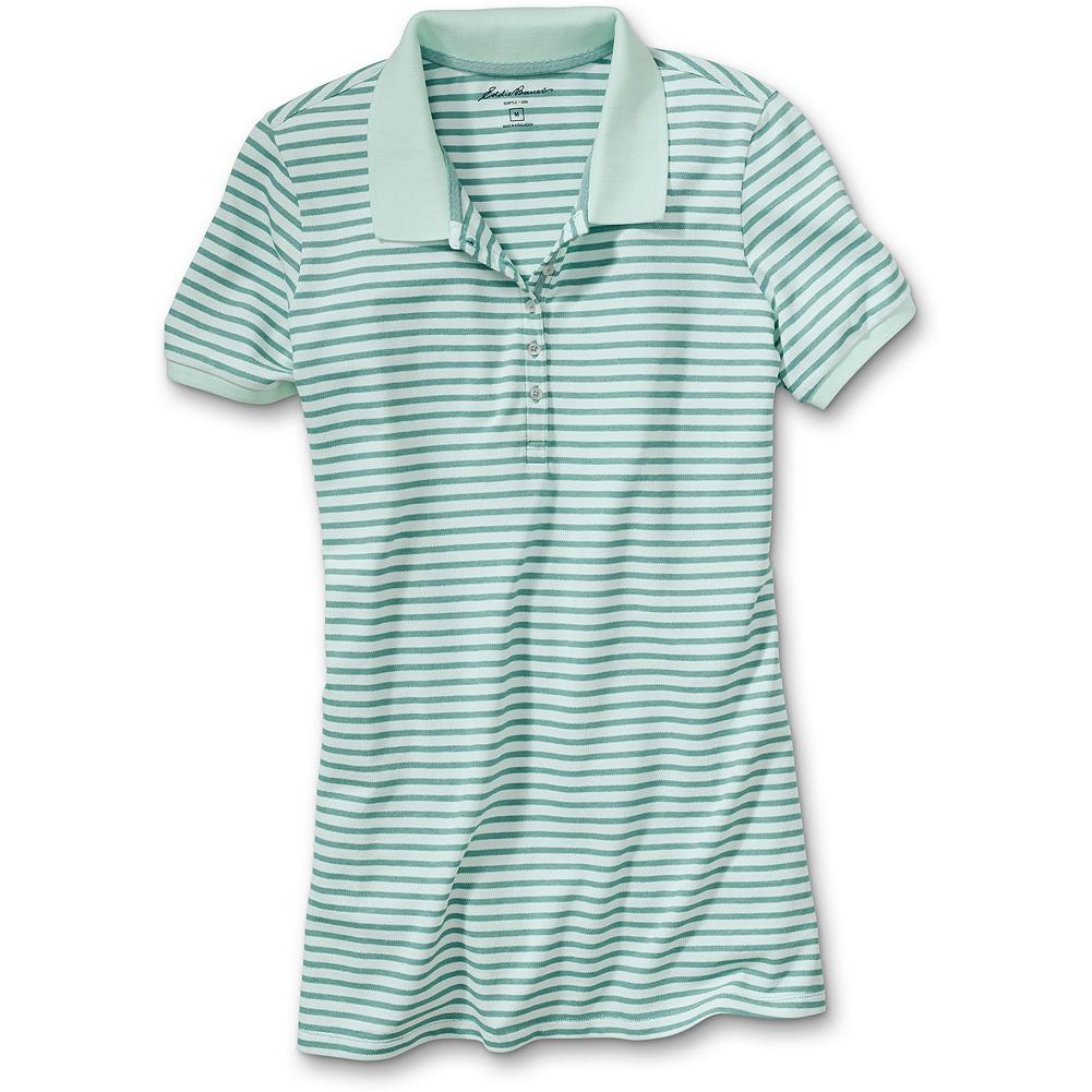 "Hunting Eddie Bauer Striped Bird's-Eye Pique Polo Shirt - Put on a polo that pops. Subtle bird's-eye stitch and vivid seasonal shades stay true, wash after wash. Specially polished for softness. Length: 26"". Classic fit. Imported. - $9.99"