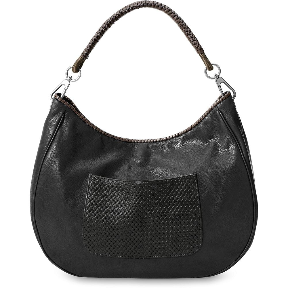 "Eddie Bauer Leather Hobo Bag - A bag you'll love keeping close at hand. Zip closure, exterior embossed pocket and three interior pocket. Supple, pebbled leather with twill lining and woven leather-covered nylon strap. 14""W x 11 1/2""H x 5""D; 10"" drop. Imported. - $49.99"