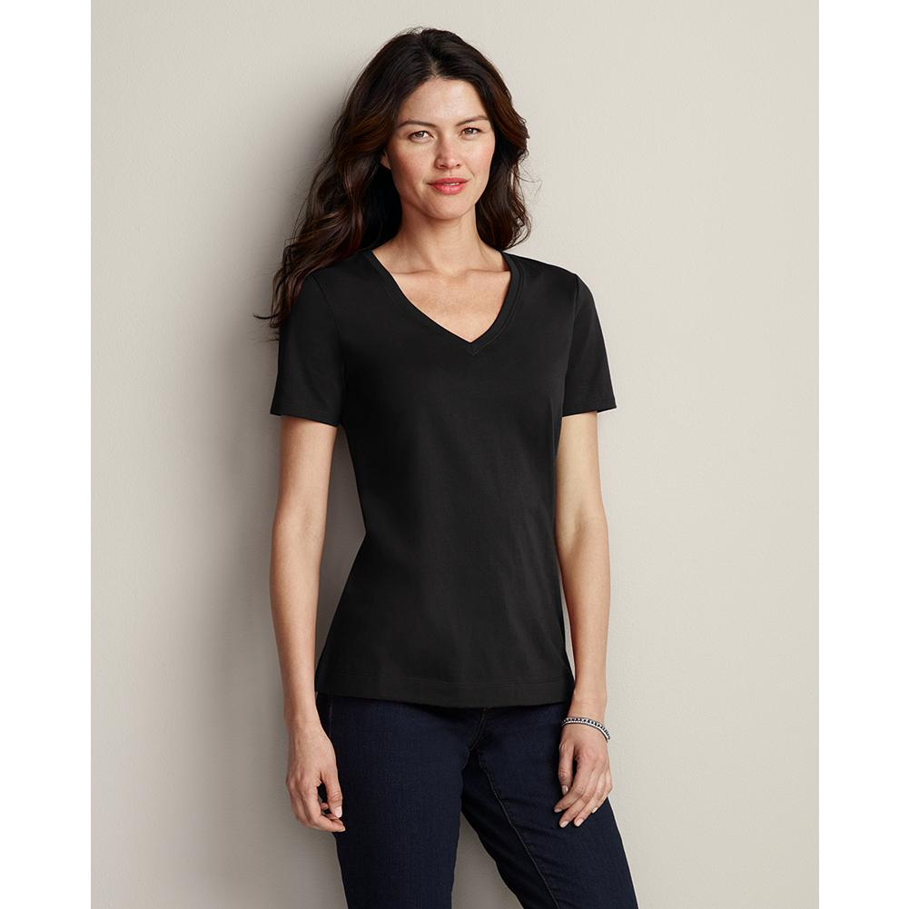 Eddie Bauer Pima Cotton Jersey Short-Sleeve V-Neck T-Shirt - From our pima cotton collection, which includes our finest-quality T-shirts. Made with 100% premium pima cotton and nothing else. The longer, silkier cotton fibers yield a smoother fabric that's exceptionally comfortable and holds its shape, wash after wash. This T-shirt features a flattering V-neck silhouette with short sleeves. - $6.99