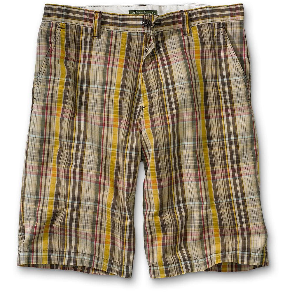 "Fitness Eddie Bauer Classic Fit Legend Wash 10"" Plaid Chino Shorts - Exceptionally comfortable shorts In our luxuriously soft and broken-in Legend Wash-now with more room in the seat and rise for an easier, more comfortable fit. Two front and back pockets. Military-grade melamine buttons. Classic fit. Inseam: 10"". Imported. - $6.99"