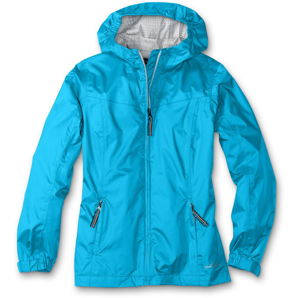 Entertainment Eddie Bauer Girls' RipPac Rain Jacket - Mountain Guide in Training(TM) This rain jacket offers packable rain protection for girls. The hood stows away when not needed and offers interior elastic at the sides to keep hair dry. Our StormRepel durable water-repellent (DWR) finish causes moisture to bead on the surface and roll off or evaporate rather than soak in. - $19.99