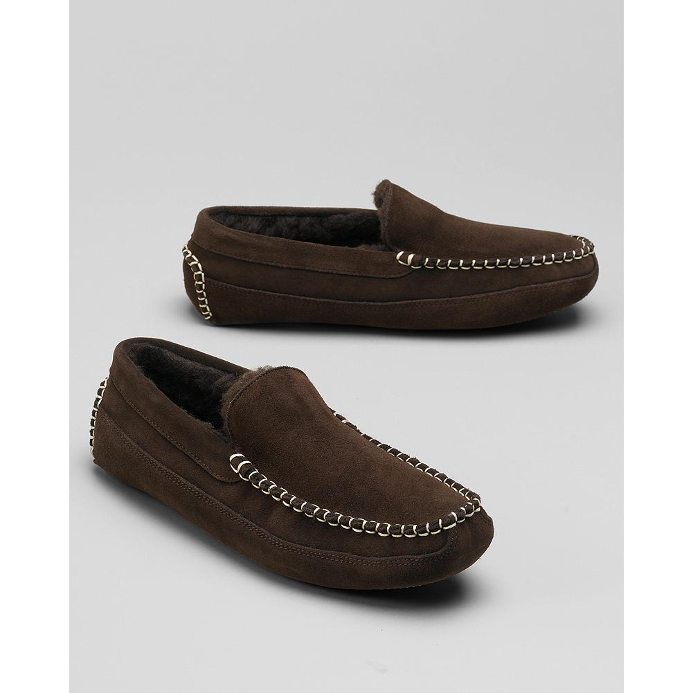 Entertainment Eddie Bauer Wool-Lined Loafer Slippers - Our ultra-comfortabe loafer-style slippers feature a rich suede upper and durable wool-fleece lining. Two-piece rubber outsole. Imported. - $59.95