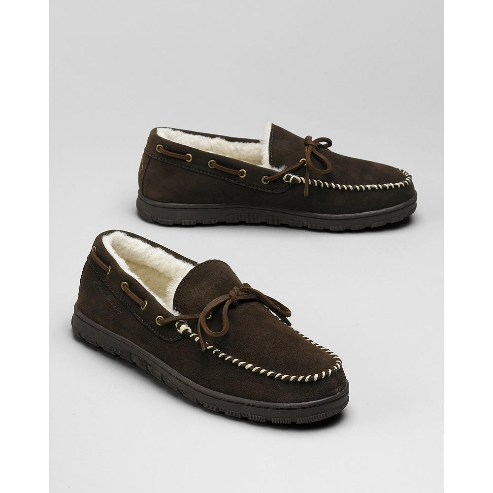 Eddie Bauer Shearling Driving Mocs - The perfect weekend moc, for indoor or outdoor wear. Made of soft suede with shearling lining and an EVA insole for cushioning and support. Flexible rubber outsole. - $79.95