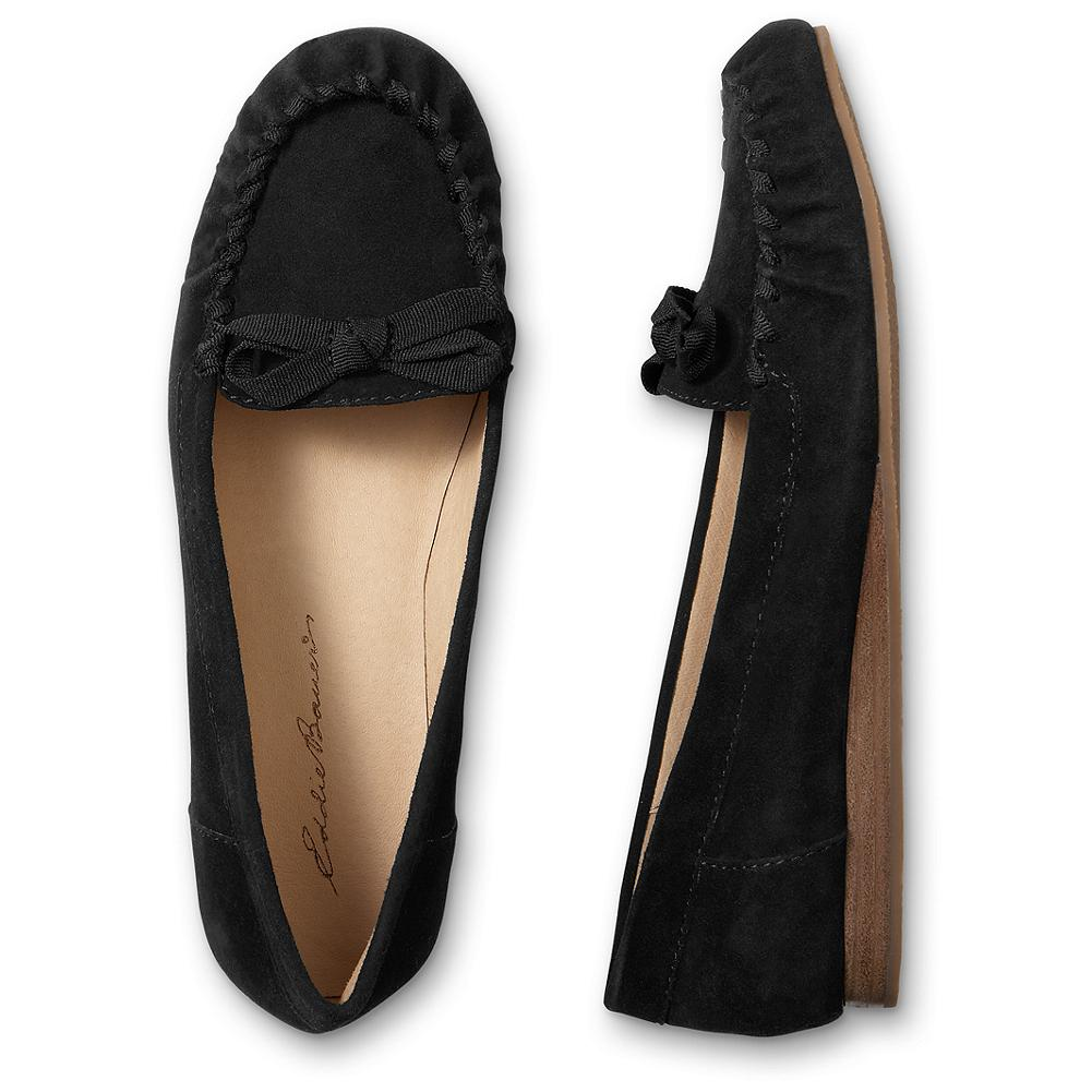Eddie Bauer Ribbon Mocs - Comfortable, stylish moccasins with feminine ribbon interlacing and tie detailing. Supple nubuck leather upper; rubber sole. Imported. - $29.99