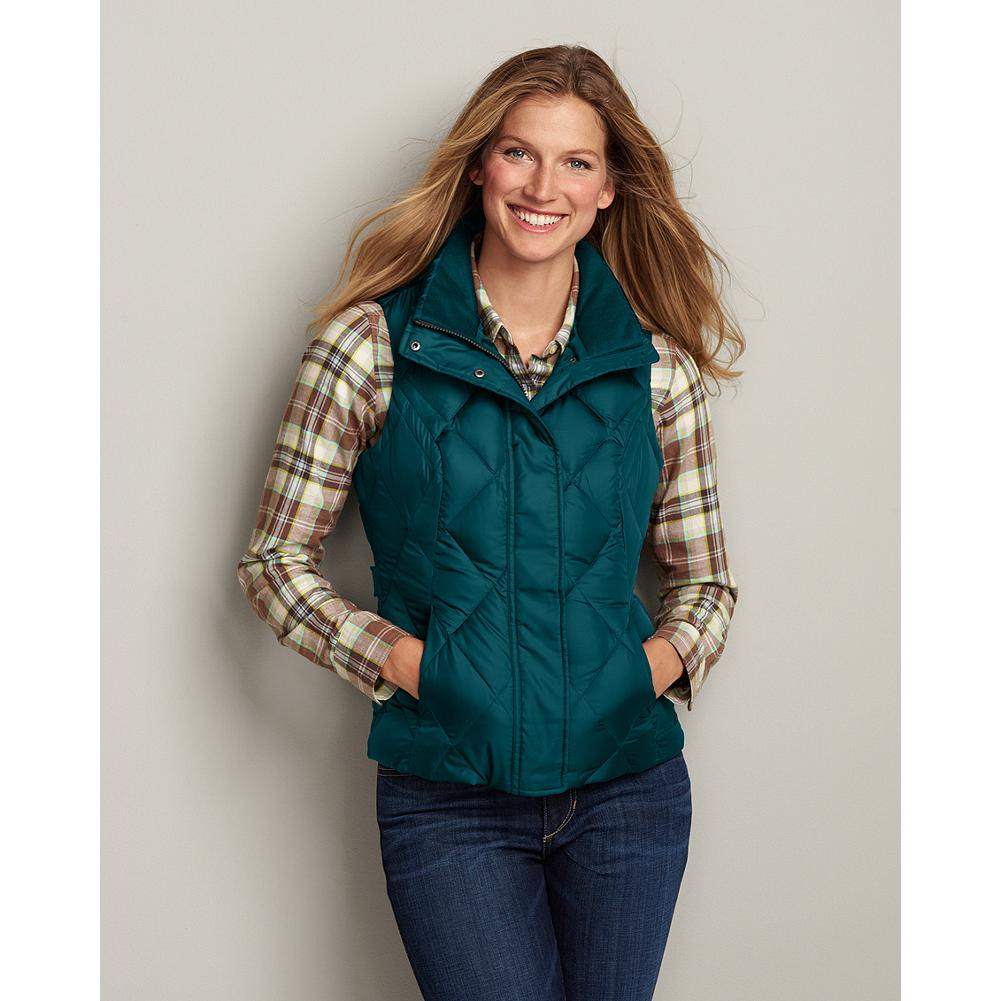 Eddie Bauer Classic Down Vest - Our best down value. This simple vest features a durable polyester shell with StormRepel(TM) durable water-repellant (DWR) finish, and smooth, downproof polyester lining. 550 fill power premium European goose down insulation provides cozy, lightweight warmth. Style details include a down-insulated stand-up collar with brushed tricot lining, a full-zip front with wind flap, and zippered handwarmer pockets. Imported. - $34.99