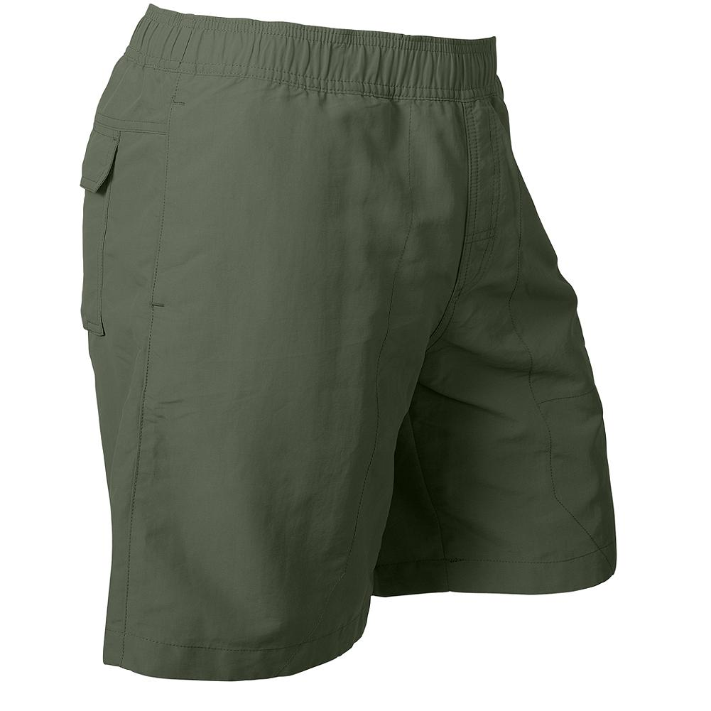 "Fitness Eddie Bauer Amphib Swim Shorts - Sporty swim shorts that are perfect for on a trail, in a boat, or at the beach. Made of durable nylon with a polyester liner. Elastic waist with drawcord tie. Zip pocket on left thigh and back left pocket. Additional right back pocket with velro closure and hidden interior coin pocket. Active fit. Inseam: 8"" (REG). Imported. - $9.99"