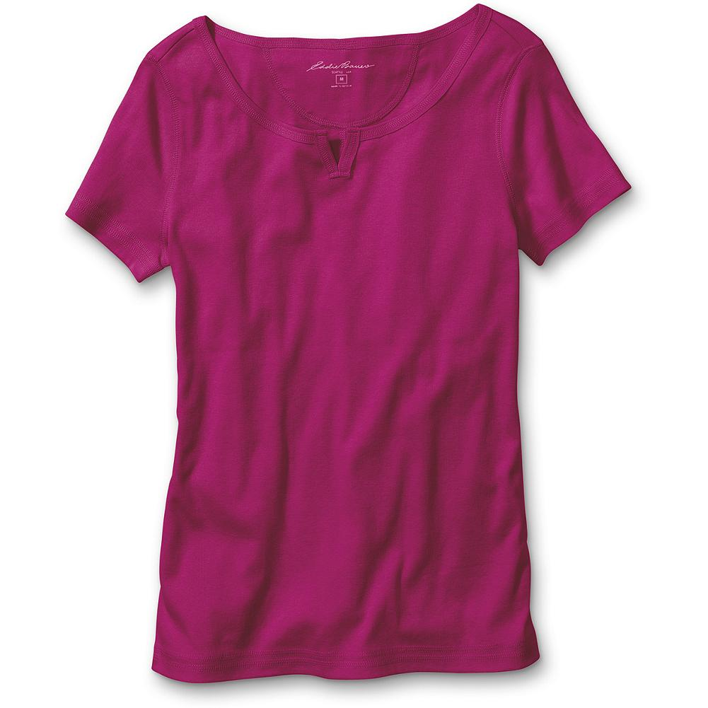"Eddie Bauer Favorite Short-Sleeve Notched-Neck T-Shirt - Why is this T-shirt called a ""favorite?"" Because it's soft, comfortable, packable and perfect. Plus, we've updated it for the season with a new notched-neck style and a vertical seam down the center back. What hasn't changed is the same high-quality combed cotton with a smooth, soft finish that keeps pilling at a minimum, and special dye process that keeps colors bright and true. Shaped fit. Length: 26"". Imported. - $9.99"