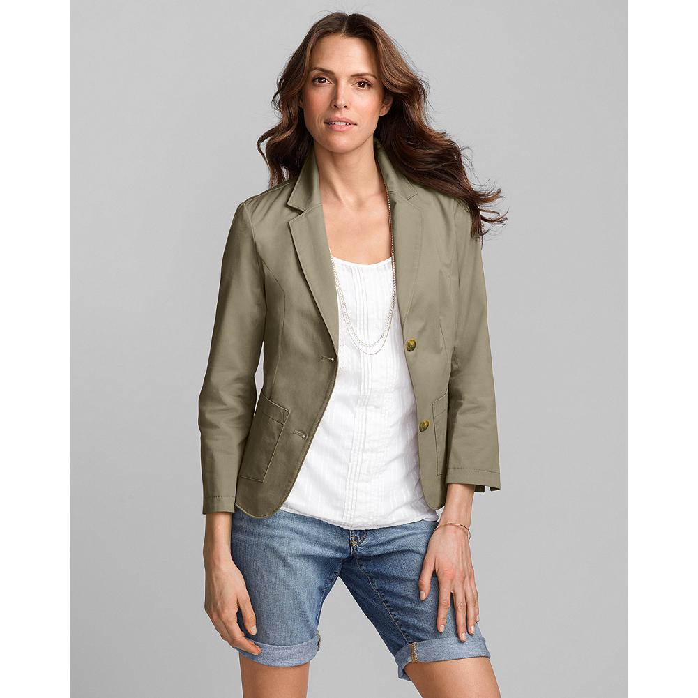 "Eddie Bauer Stretch Cotton Twill Blazer - Look effortlessly pulled-together, dressed up or down. Versatile and lightweight fabric offers perfect transitional wear for spring through fall. Double-button front closure and three-quarter sleeves with small vents that can be turned back. Slightly shorter and less fitted through the waist than our traditional suiting jackets, with a back vent for ease of movement. Length: 23.5"". Imported. - $19.99"