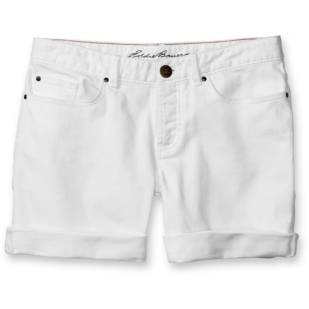 "Eddie Bauer Classic Five-Pocket Boyfriend Roll-Up Shorts - A fair-weather favorite in our best-selling boyfriend fit. Button fly. Shorts can be easily un-tacked and worn unrolled. Inseam 6"" (rolled), 9"" (unrolled). Imported. - $14.99"