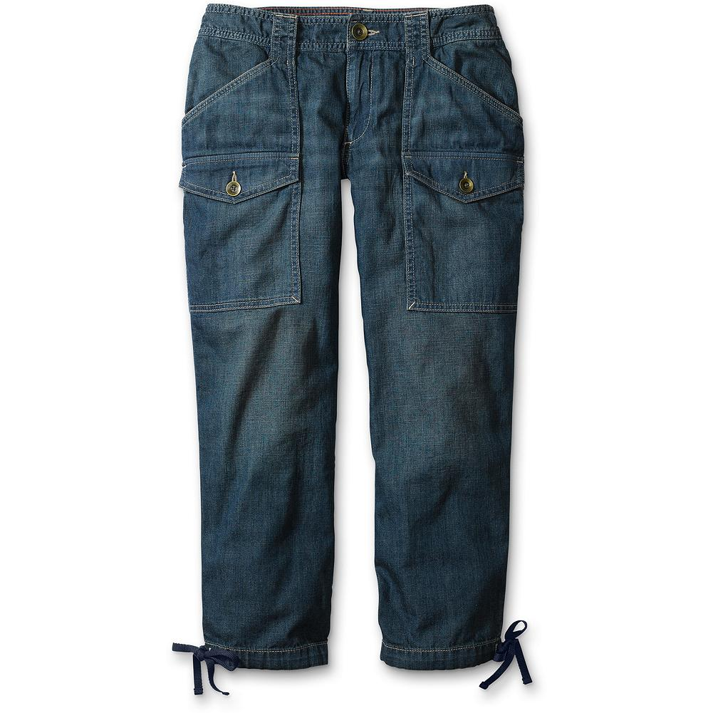 "Eddie Bauer Lightweight Relaxed Denim Capris - Utility styling, taken directly from our archives, in an amazingly lightweight denim ready to take on the heat. Easy fitting, with a lower rise and less tailored capri leg. Offered in a naturally worn wash. Inseam: 24"". Imported. Summit. - $14.99"