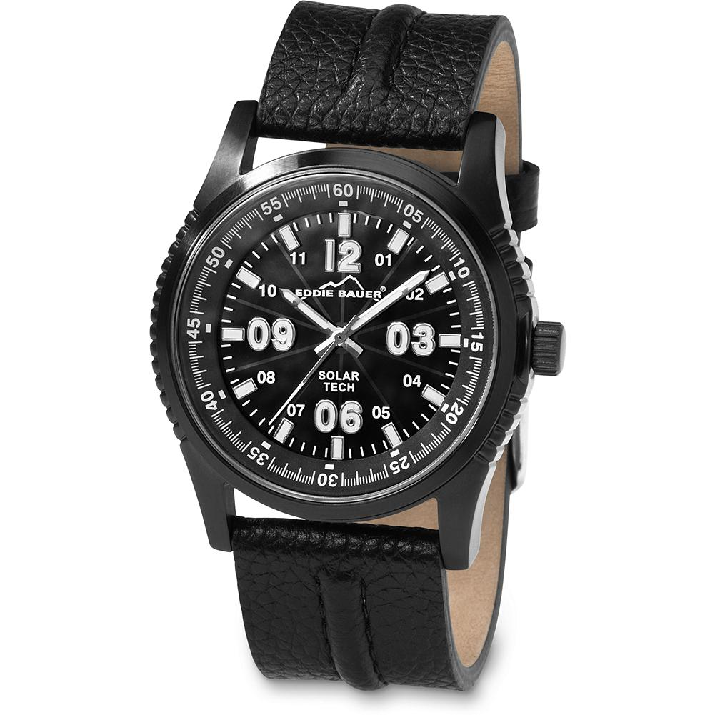 Eddie Bauer Solar Tech Watch - Sophisticated styling with solar technology. Nickel-free stainless steel case, scratch-resistant mineral crystal and Japanese quartz movement. Water-resistant to 50m. Leather strap with stitched detailing. Imported. - $119.99