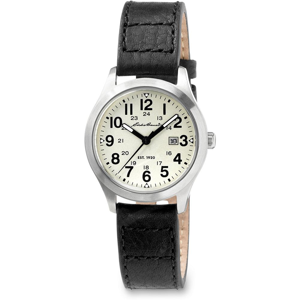 Eddie Bauer Ladies Field Watch - Classic and understated -- with easy-to-read numerals.Date function with nickel-free stainless steel case, scratch-resistant mineral crystal, and Japanese quartz movement. Water-resistant to 50m. Leather strap with stitched detailing. Imported. - $99.00