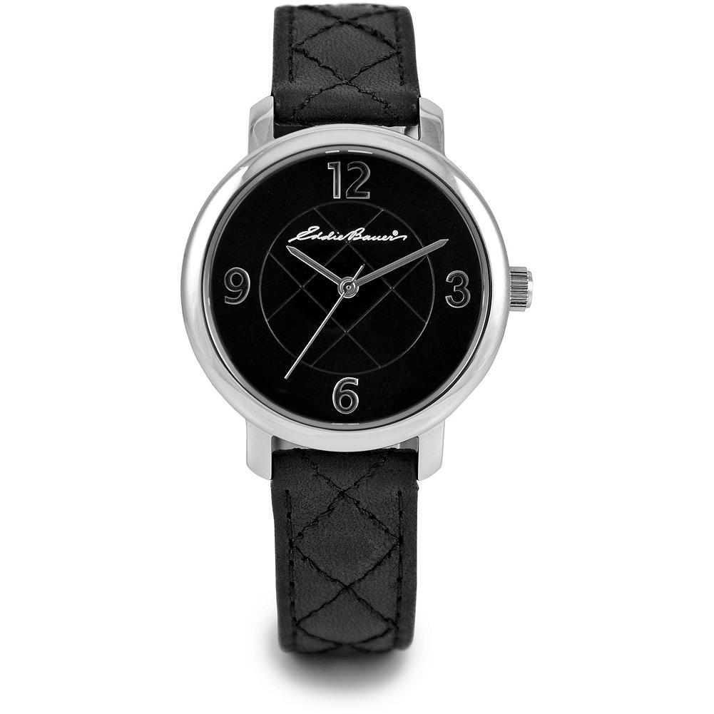 Eddie Bauer Ladies Diamond Quilt Watch - Strikingly elegant, with diamond-quilt dimensional dial and diamond stitching on leather band. Nickel-free stainless steel case, scratch-resistant mineral crystal and Japanese quartz movement. Water-resistant to 30M. Imported. - $99.99