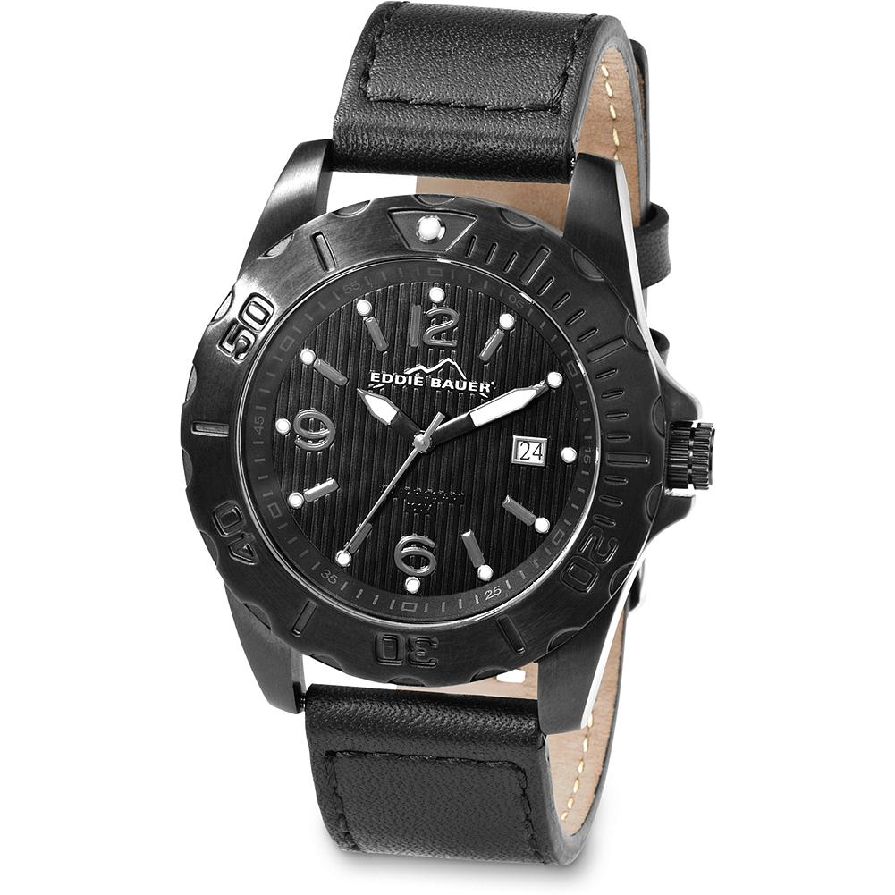 Eddie Bauer Blackout Watch - Make good time wherever your day takes you. Japanese quartz movement, luminous hour markers, date function, nickel-free stainless steel case, leather band and rotating bezel. Water resistant to 100 meters. Imported. - $119.99