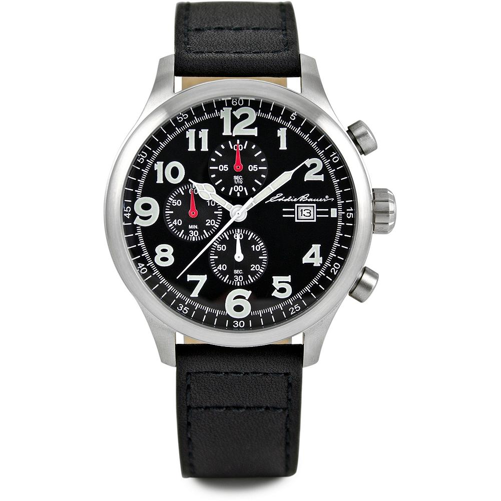 Eddie Bauer Luxury Chronograph Watch - This handsome chronograph timekeeper has a large crown and buttons, black dial, scratch-resistant mineral crystal, nickel-free stainless steel case, date function and Japanese quartz movement. Water-resistant to 100M. Adjustable leather strap. Imported. - $139.99