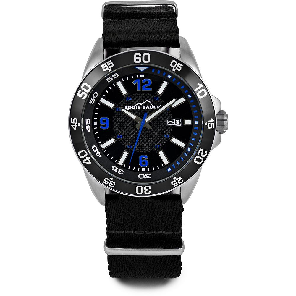 Eddie Bauer Sport Watch - A watch that's ready for action - with military time marker, date function and Japanese quartz movement. Water-resistant to 100m with scratch-resistant mineral crystal, nickel-free, stainless steel case and black nylon strap. Imported. - $89.00