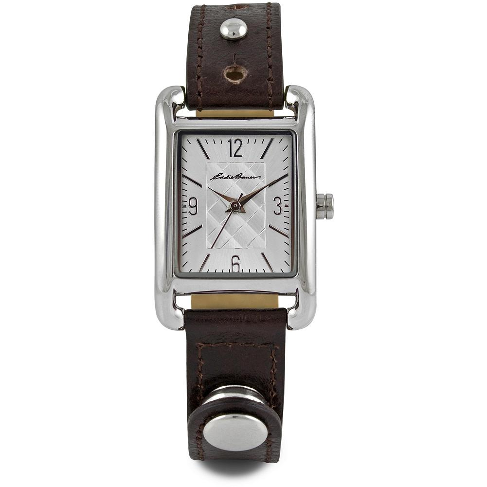 Surf Eddie Bauer Ladies Rivet Tank Watch - Simply sophisticated, with a diamond quilt pattern on the dial and a rivet detail on the leather band. Date function, nickel-free stainless steel case, scratch-resistant mineral crystal and Japanese quartz movement. Imported. - $89.99