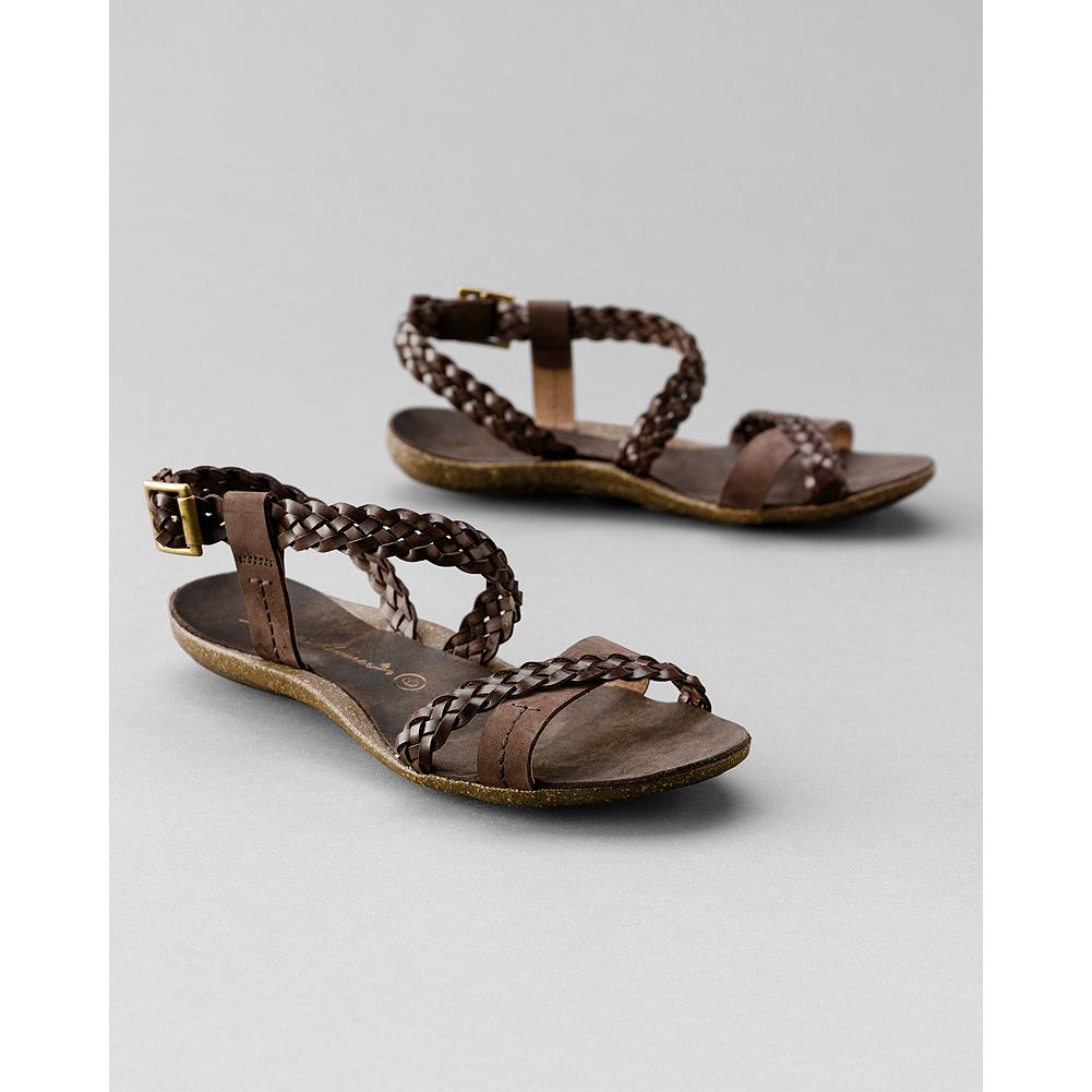 Entertainment Eddie Bauer Woven Cork Sandals - Comfy woven cork sandals combine full-grain and nubuck leather and brass buckle detail. Molded cork/latex footbed; rubber sole. Imported. - $29.99