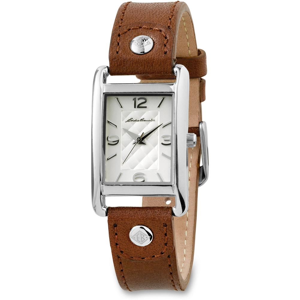 Eddie Bauer Classic Rectangular Watch - A timely gift for the moms in your life. Diamond-quilt dimensional dial with nickel-free stainless steel case. Scratch-resistant mineral crystal, Japanese quartz movement and water-resistant. Cognac leather strap with EB logo. Imported. Online exclusive. - $49.99