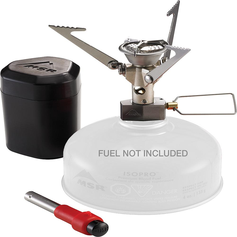 Camp and Hike MSR MicroRocket(TM) Stove - Compact and lightweight, the MicroRocket delivers the best mix of weight, size, performance and price of any stove in its class. It weighs a mere 2.6 oz. (75 g) and features outstanding stability. Carry case and handheld piezo igniter included. Made in USA. Fuel canister not included. - $34.99