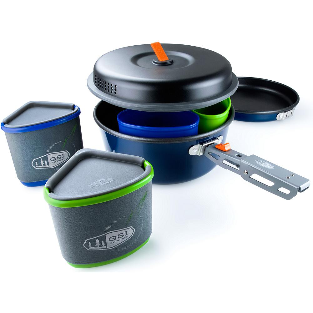 Camp and Hike Eddie Bauer GSI Outdoors Bugaboo Backpacker Cookset - Essential equipment for the backpacker who delights in delicious meals. Ingeniously compact design allows for nested storage and meets the needs of two campers. Color-coded items provide personalized tableware settings, and rugged stuff sack doubles as a sink or wash basin. Imported. - $49.99