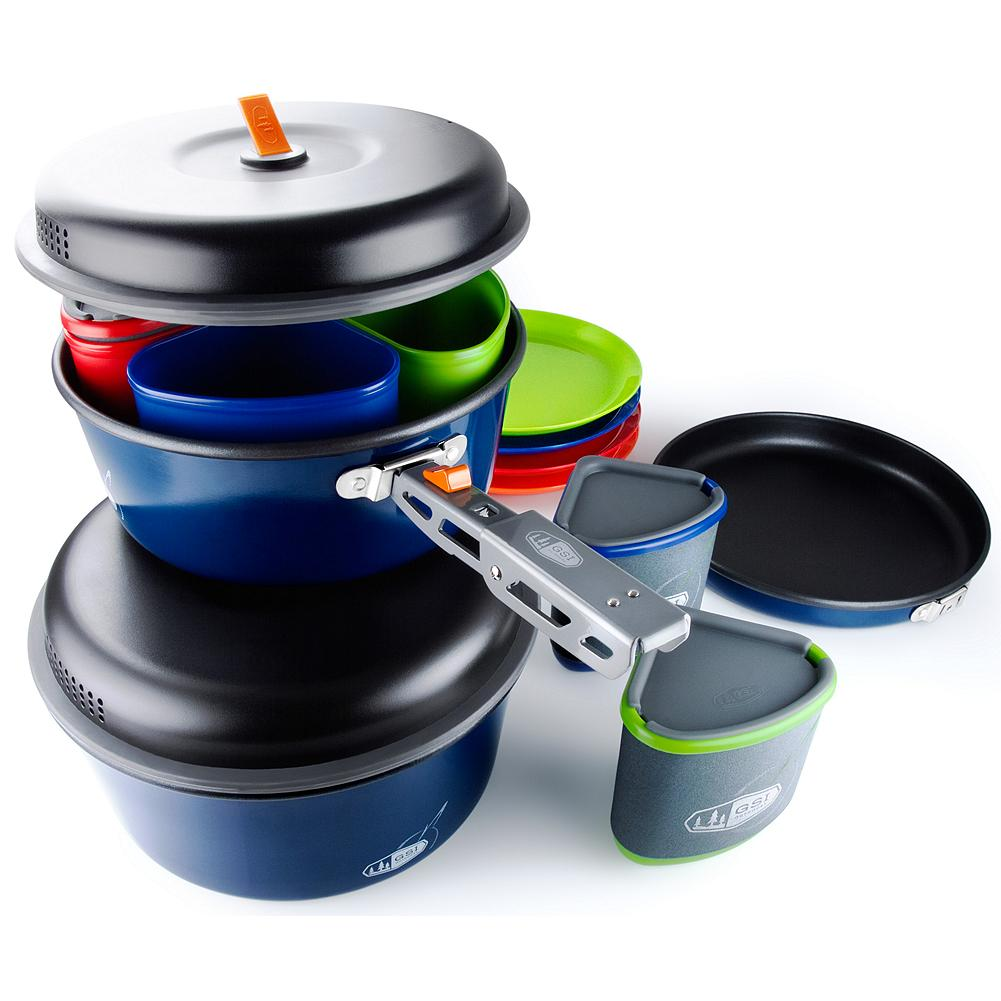 Camp and Hike Eddie Bauer GSI Outdoors Bugaboo Camper Cookset - Amazing compact design includes everything you need for gourmet meals in the great outdoors. Reconfigurable for everything from 2 person backpacking to 4 person car camping. Imported. - $99.95
