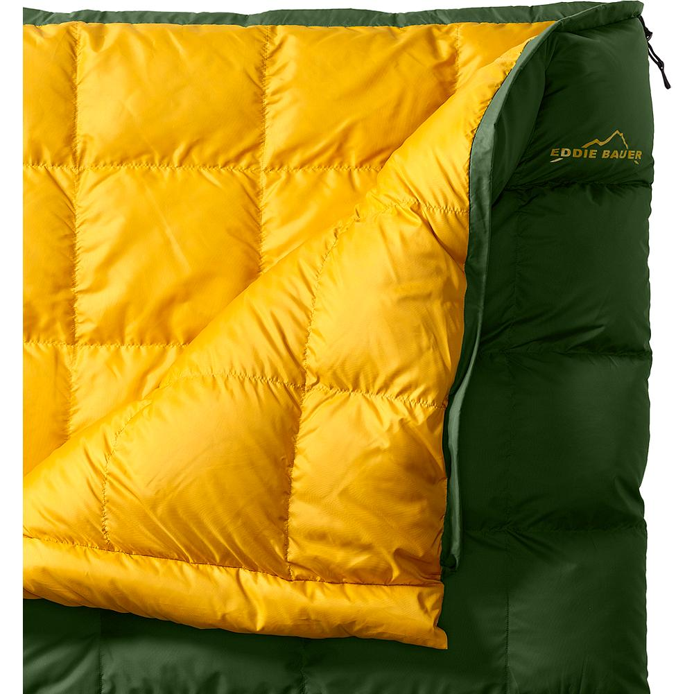 Camp and Hike Eddie Bauer Forest King 40deg Down Sleeping Bag - The King Series of sleeping bags has well over 60 years of history at Eddie Bauer, and was created by Eddie to meet the needs of the occasional camper. The classic rectangular Forest King is ideal for the campsite, the backyard, or the basement. Filled with premium gray goose down, the combination of the baffle box and horizontal interior baffle construction keeps even distribution of the down across the bag and maximizes loft for perfect warmth. Cut full for maximum comfort. Nylon stuff sack; cotton storage bag. 600 fill Premium European Goose Down. 70-denier polyester taffeta. Imported. - $229.00