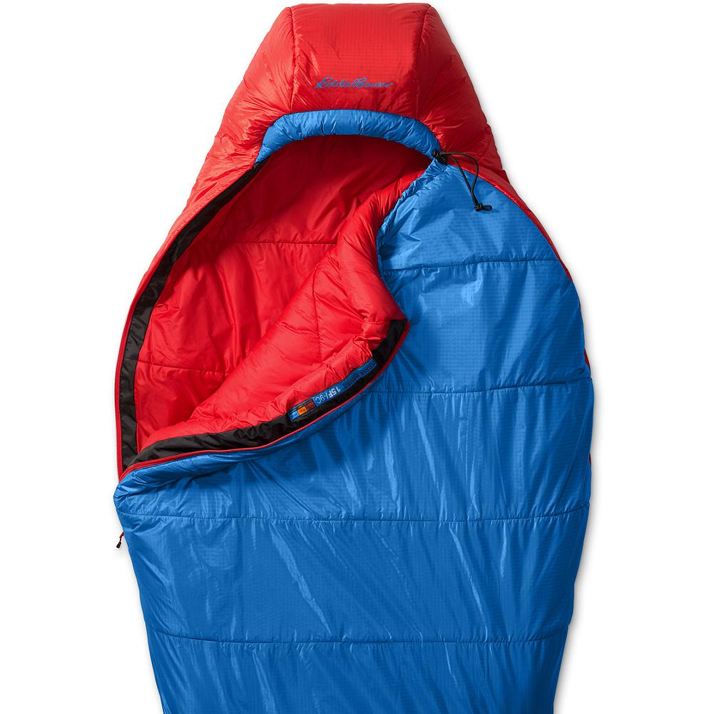 Camp and Hike Eddie Bauer The Igniter +15deg Synthetic Insulation Sleeping Bag - The backpacking solution for wet, coastal mountains or damp, misty forests. Climashield Apex continuous filament insulation provides 70 percent more loft and 30 percent more efficiency than other synthetics. Durable shell shaves weight and a DWR treatment on the Igniter 15 adds weather repellency. Three-dimensional footbox designed for maximum comfort. Imported. 20D Pertex Endurance nylon. Unisex. - $249.00