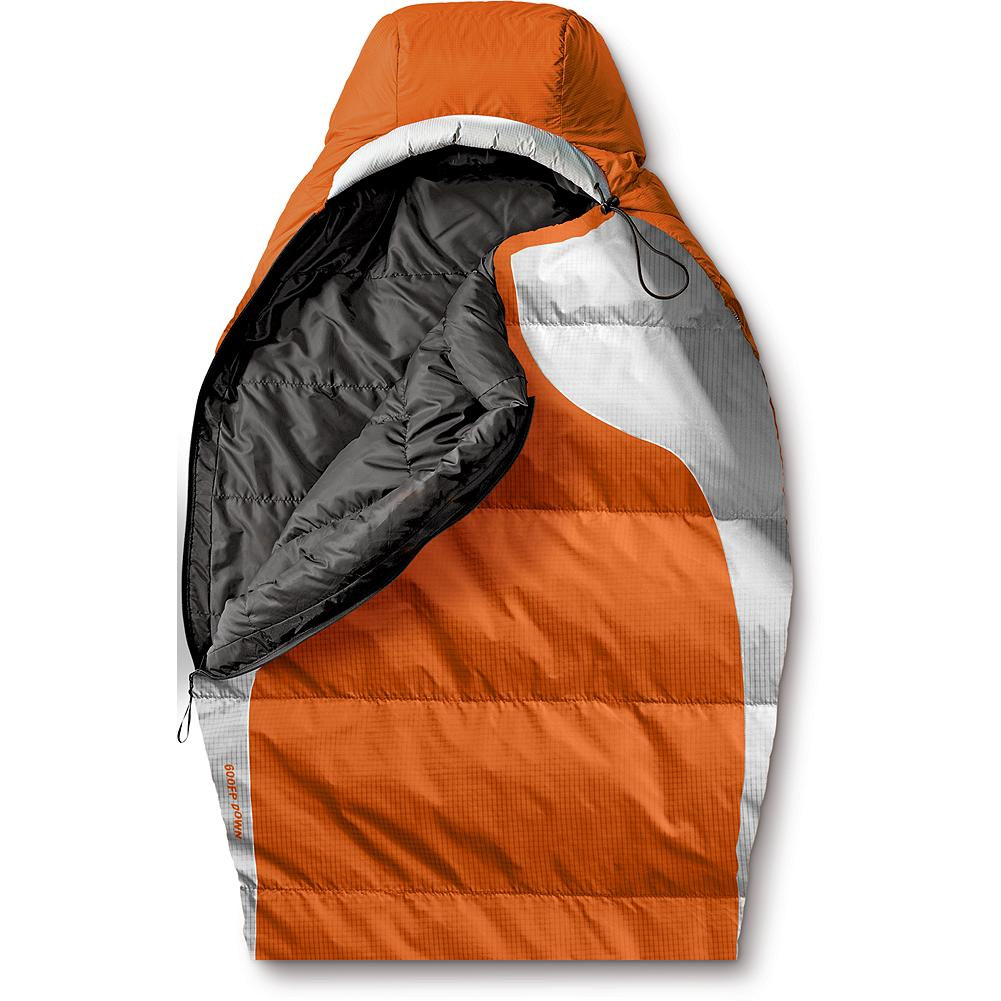 Camp and Hike Eddie Bauer Snowline(TM) +20deg Synthetic Insulation Sleeping Bag - Great performance and value is where the Snowline 20+ Synthetic Insulation Sleeping Bag hangs its hat. Built on the same shape as our Snowline 20+ Down sleeping bag, the comfortable mummy design uses EB Warmtech synthetic insulation to keep you warm even in damp Northwest conditions. The bright orange color not only looks great but gets its inspiration from the original Snowline sleeping bag, in which Eddie carefully selected the color to be easily spotted from the air. Regular size fits people under 6 ft. 3 in. tall. Nylon stuff sack; cotton storage bag. 40-denier ripstop nylon. Imported. - $129.00