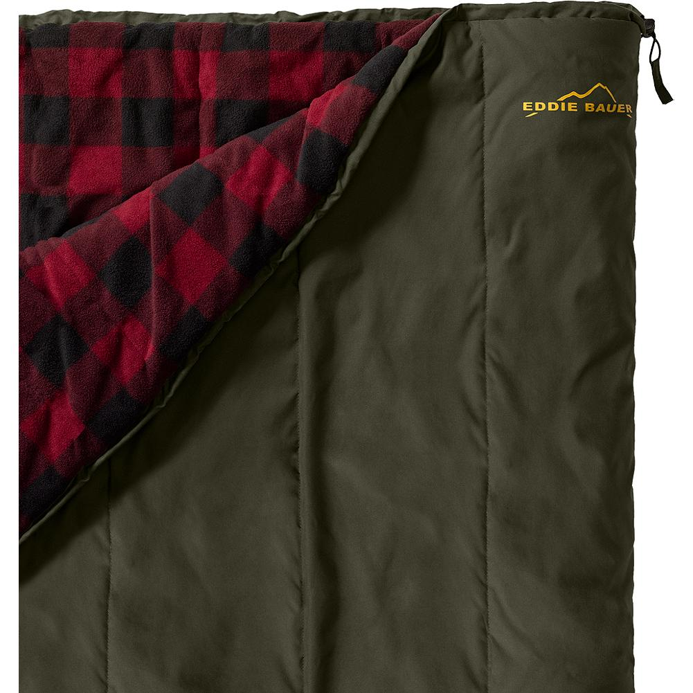 Camp and Hike Eddie Bauer Woodsman Sleeping Bag - When you thrive on elbow (and knee and ankle) room, this is your bag. Three-season comfort, cut to luxurious dimensions that allow for tossing or turning. Smooth-running YKK zippers. Rated to 30deg. EB Warmtech synthetic insulation. Polyester twill/fleece. Imported. - $119.00