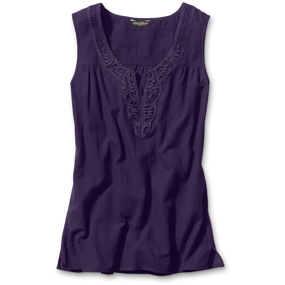 "Surf Eddie Bauer Crochet Tank Top - Arts and crafts: take a simple tank and trim the neckline with charming crochet. Classic fit. 100% cotton. Length: 28.5"". Imported. - $49.95"