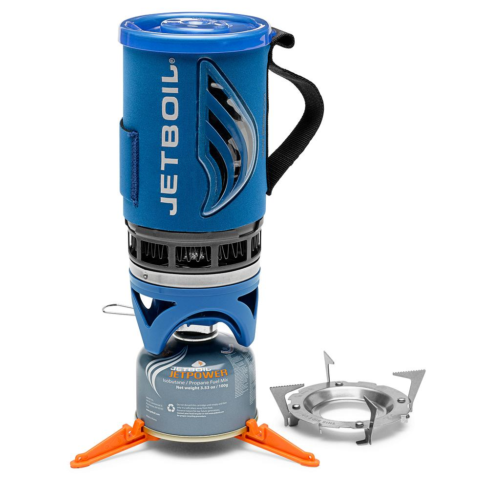 "Camp and Hike Jetboil Flash Cooking System - Essential equipment for your outdoor ""kitchen."" Compact and lightweight, with the the same efficient design as the classic Personal Cooking System (PCS), but with the added convenience of an external temperature indicator. A simple-to-use electric igniter makes lighting the burner and operating the Flash a breeze--and since it captures and focuses heat more efficiently than traditional cooking systems, you'll have two cups of boiling water in just two minutes. Plus, the built-in windscreen allows the Flash to function effectively no matter what the weather holds in store. The sip-through lid helps insulate the contents of the cooking cup and prevents spills-- and the protective plastic bottom of the cup can be removed for use as a small bowl or measuring device. Made in USA. - $79.99"