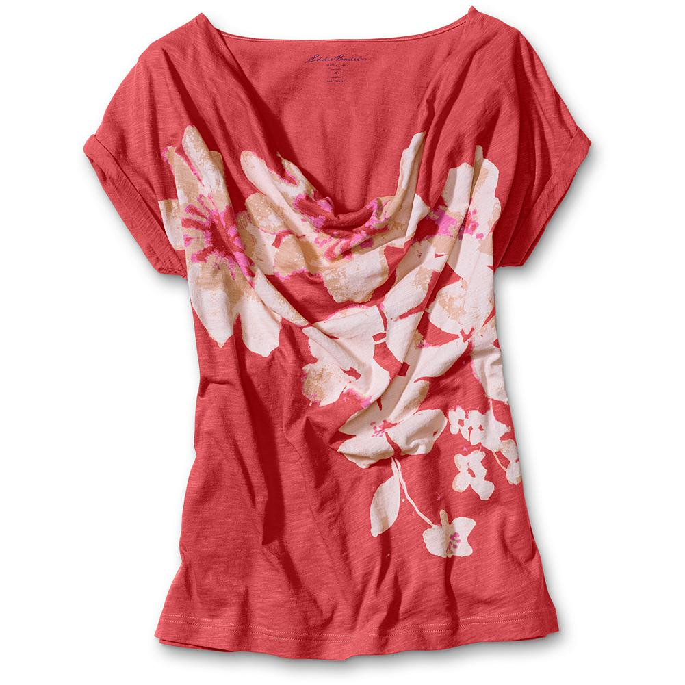 "Eddie Bauer Watercolor Floral T-Shirt - Cherry blossom chic with dolman sleeves and a draped neck. Classic fit. Machine wash. Length: 25"". Imported. - $14.99"
