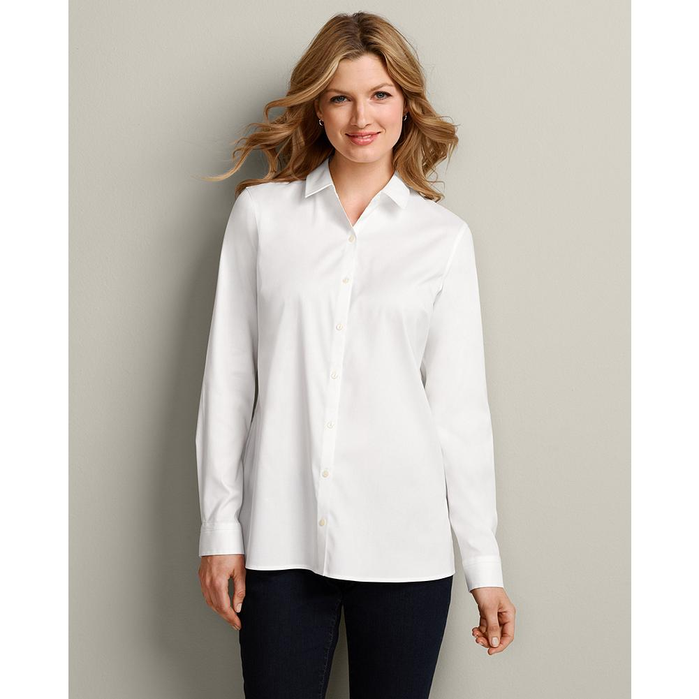 Eddie Bauer Wrinkle-Free Long-Sleeve Tunic - Our easygoing, easy-care tunic is made of breathable cotton stretch fabric for exceptional comfort and excellent shape retention. - $29.99