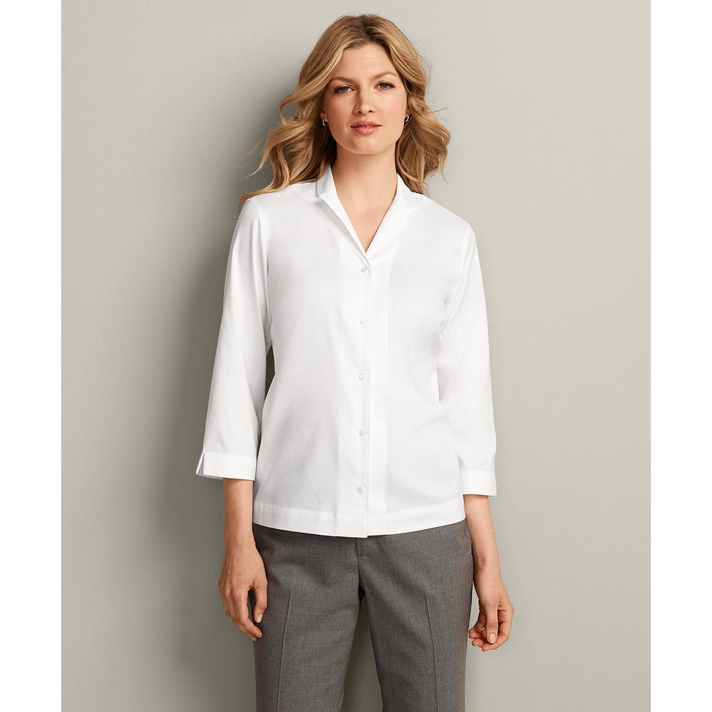 Eddie Bauer Wrinkle-Resistant 3/4-Sleeve Solid Notched Collar Shirt - Say goodbye to your iron with our famous wrinkle-resistant shirt, now in new colors. Cotton stretch fabric with COMFORTCLOTH(TM) technology makes this shirt highly breathable and moisture-wicking-so you stay supremely comfortable all day long. - $14.99