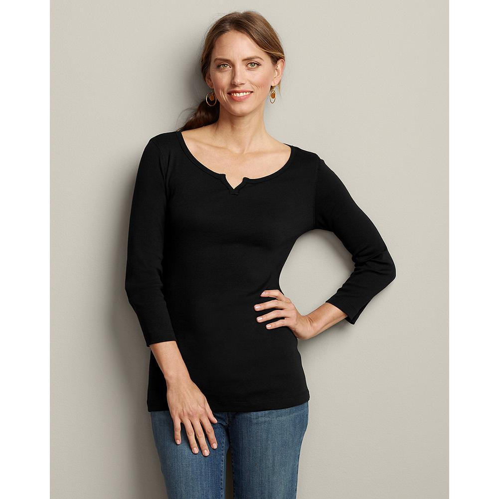 "Fitness Eddie Bauer Favorite 3/4-Sleeve Notch-Neck T-Shirt - Why is this tee called a ""favorite?"" Because it's soft, comfortable, packable and perfect. Plus, we've updated for the season with a new notch-neck style and a vertical seam down the center back. What hasn't changed is the same high-quality combed cotton with a smooth, soft finish that keeps pilling at a minimum, and special dye process that keeps colors bright and true. Shaped fit. Length: 26"". Imported.   This tee is running slightly smaller than our other favorite tees. If you're in between sizes or would like an easier fit, we recommend you order up a size. - $9.99"