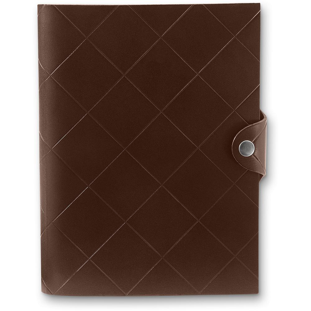 Entertainment Eddie Bauer Leather Journal - Record your thoughts and ideas in this compact, leather-bound journal with a reusable cover. Wire-bound notebook attaches with a concealed back snap. Ruled and perforated paper with gilded edges. (Refills available online). - $9.99