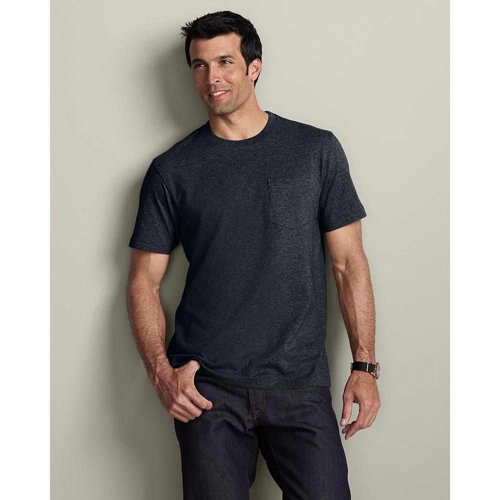 Eddie Bauer Classic Fit Legend Wash Pocket T-Shirt - A T-shirt is something you wear every day, so we build them tough. Made of high-quality, smooth, combed cotton, they're treated with our special Legend Wash to make them even softer and to reduce shrinkage and fading. Heavy-duty seams are sewn flat, so they won't twist out of shape after washing. Imported. - $19.95