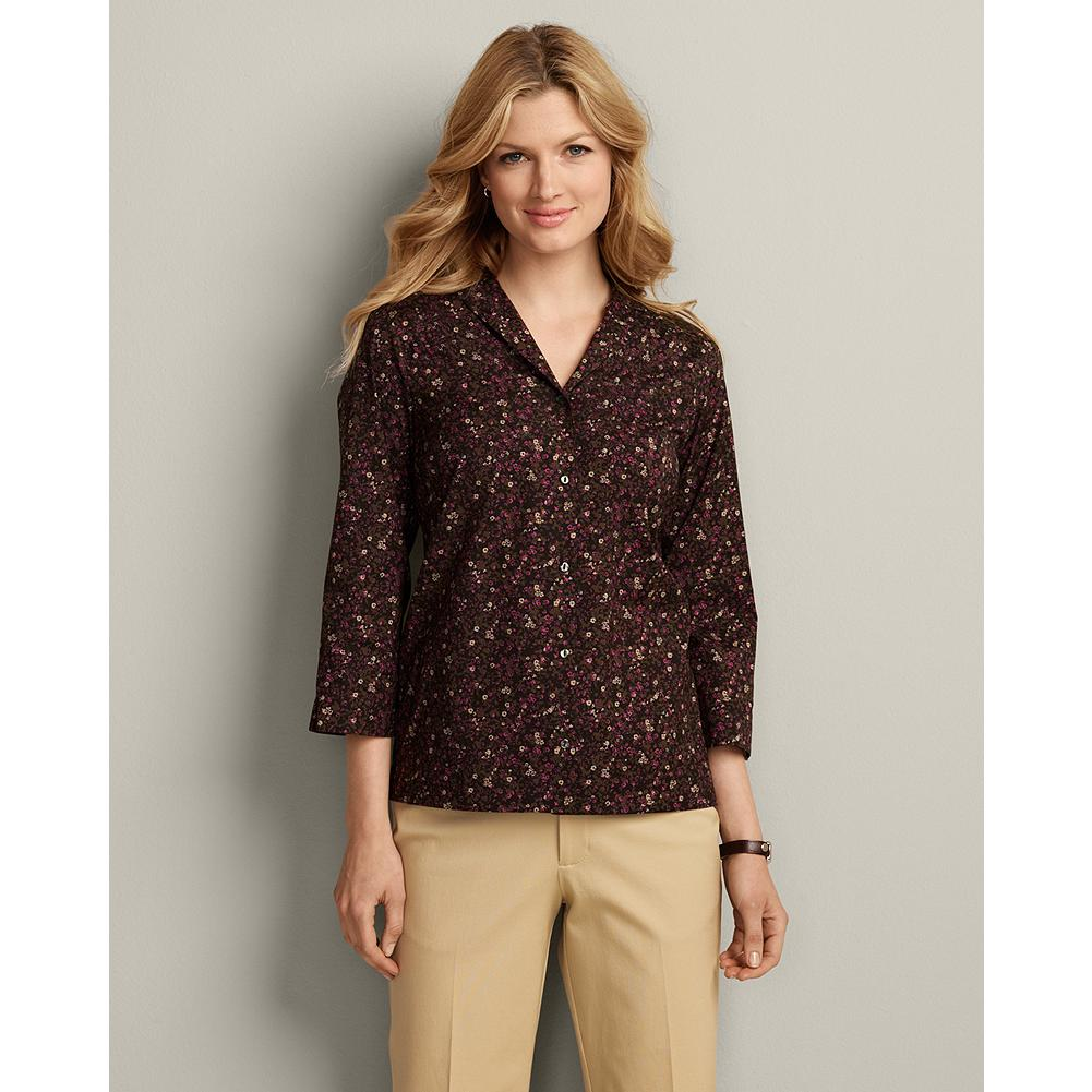Eddie Bauer Wrinkle-Free 3/4-Sleeve Print Shirt - Cotton stretch fabric with COMFORTCLOTH(TM) technology makes our wrinkle-resistant shirt highly breathable and moisture-wicking-so you stay supremely comfortable all day long. - $9.99