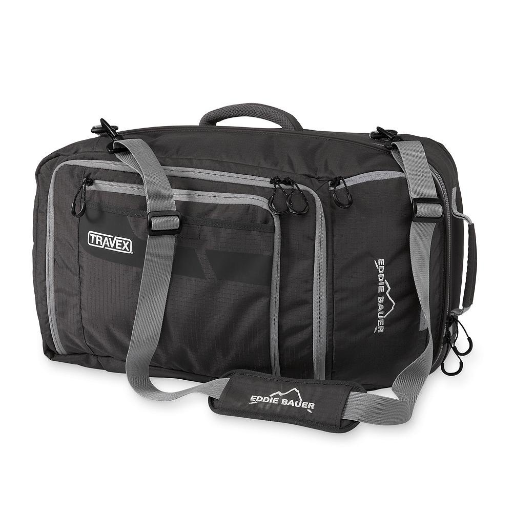 "Entertainment Eddie Bauer Travex Multi-Carry System - This versatile piece of gear functions as a duffel, briefcase or backpack via comfortable padded straps. Durable CORDURA fabric construction with secure interior storage compartments. Fits most airline carry-on size requirements. 21""Hx12""Wx9""D. Imported. - $119.00"