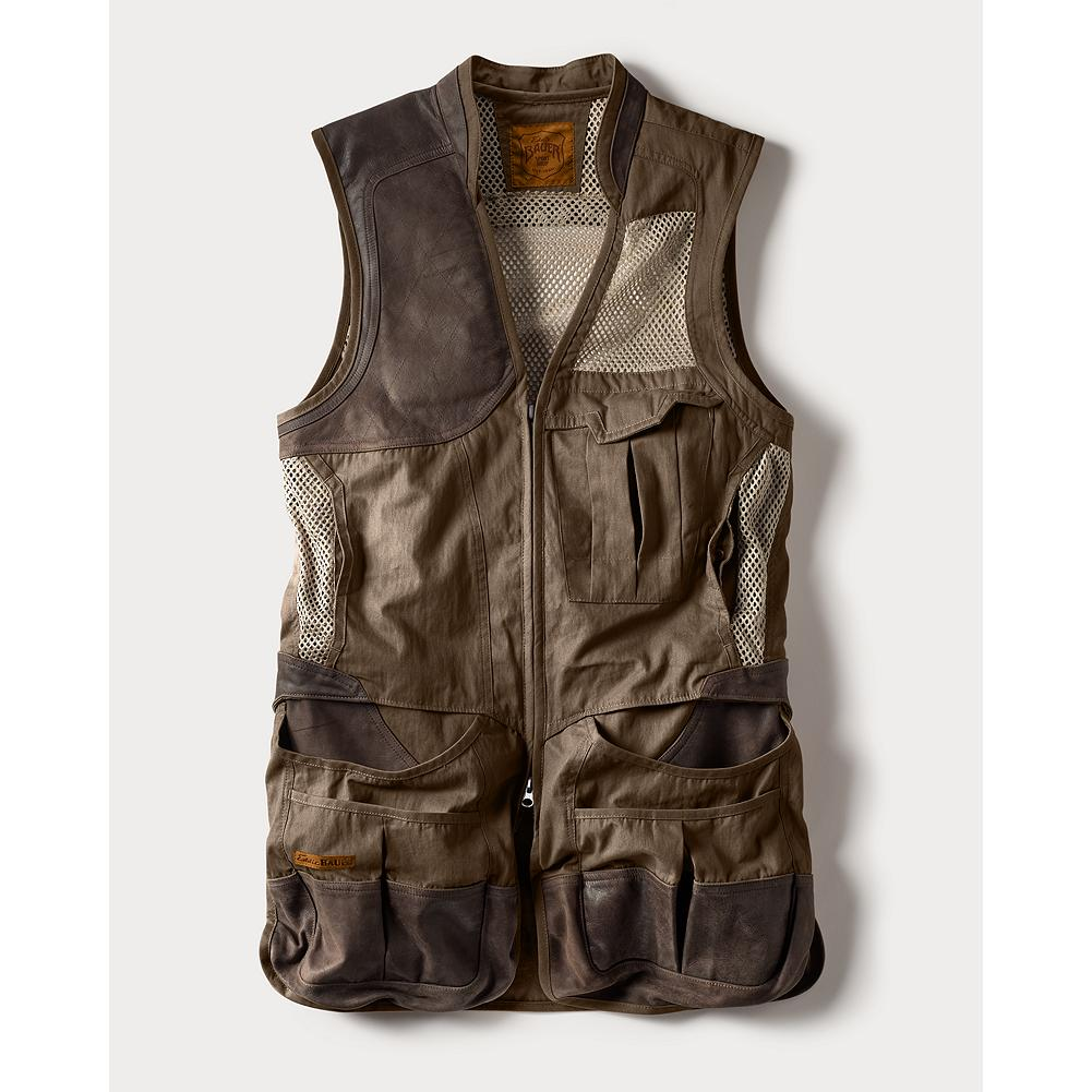 Hunting Eddie Bauer Clay Break Premium Shooting Vest - Eddie Bauer opened his first Sport Shop in 1920 with one goal: to outfit American sportsmen and sportswomen in the finest gear. We've returned to this tradition with the next generation of hunting, fishing, and shooting apparel. Our top-of-the-line vest has a leather quilted shooting patch (right hand only) and removable air mesh recoil pad. Mesh upper back with front mesh panels and easy-access rear hull pocket. Double front bellows shell pockets with leather overlay. Leather abrasion patches at pocket entries. Front bellows chest pocket. Vislon zipper. Leather collar stand. Imported. - $179.00