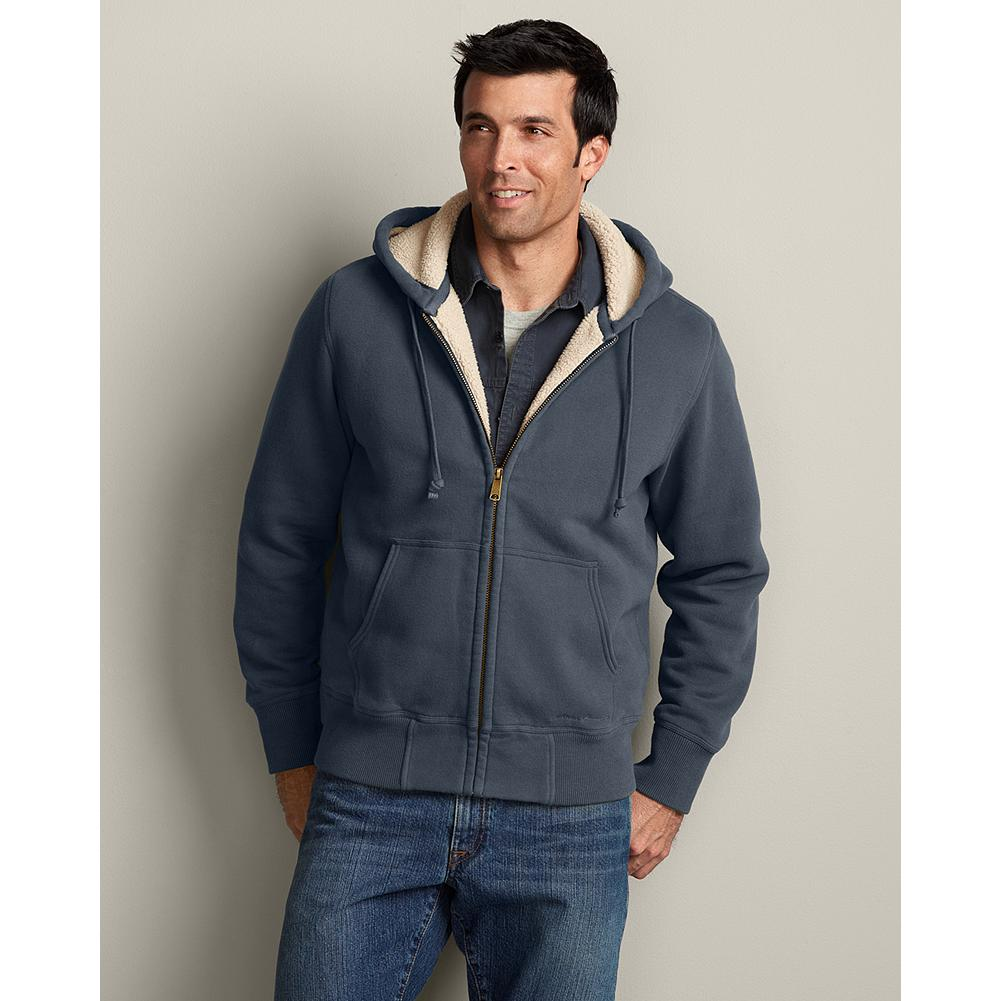 Eddie Bauer Cabin Sherpa Fleece Hoodie - Every element of our bestselling, sherpa-fleece hoodie is built for superior comfort, warmth, and durability. Guaranteed. The robust cotton/polyester outer fabric is brushed for softness, and lined with ultrasoft, high-pile sherpa fleece. Rugged seams and rib-knit cuffs and hem ensure long wear and excellent shape retention. - $59.99