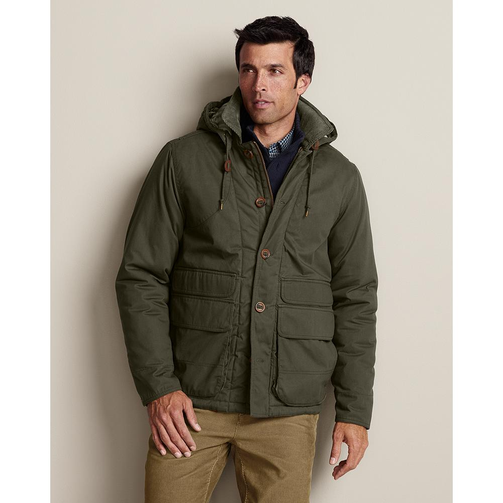 "Hunting Eddie Bauer Bodie Mountain Rancher Jacket - Layered with a sweater or on its own, this jacket that has all the thoughtful details you'll appreciate when the temperature dips down. Rugged cotton shell with polyfill insulation, decorative hunting shoulder patch and contrasting color in interior lining. Corduroy under collar, adjustable cuffs, detachable hood and action back. Classic fit. Length: 29"". Imported. - $99.99"