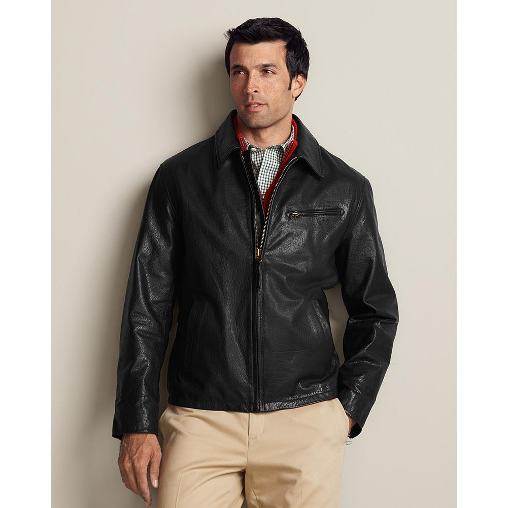 "Entertainment Eddie Bauer Leather Journeyman Bomber Jacket - Dress it up or wear it casual; this rugged, the vintage-inspired look of this leather bomber jacket goes anywhere. Adjustable zip cuffs and side tabs and interior chest pocket. Classic fit. Length: 26.50"". Imported. - $149.99"