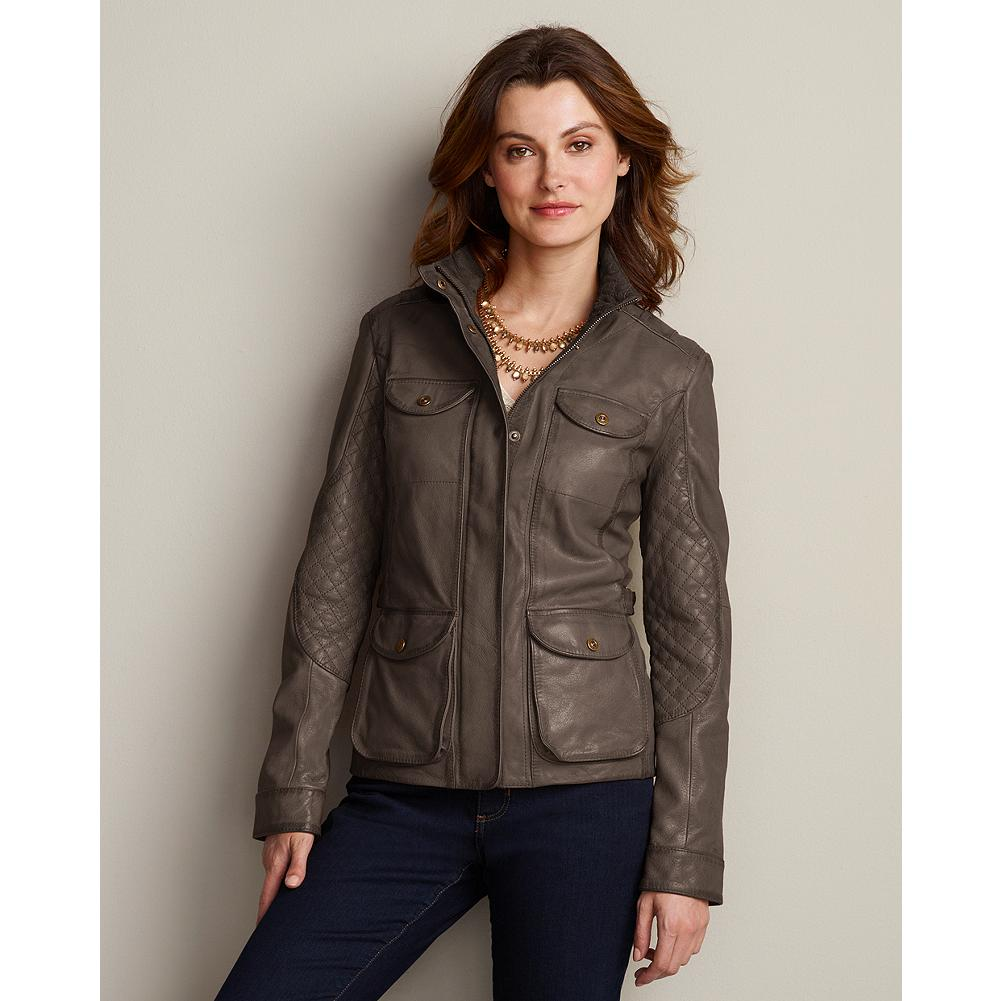 "Eddie Bauer Leather Field Jacket - Make a guaranteed investment in style: The military-inspired design of this trim leather jacket is a proven classic. Diamond quilting on the sleeves and inside collar add just the right amount of individual flair. Adjustable side buckles and snaps over the zip front. Length: 24.5"". Imported. - $349.00"