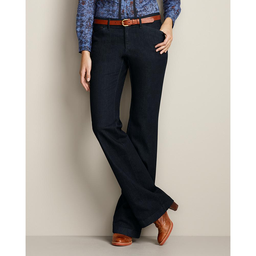 Eddie Bauer Curvy Denim Trousers - About the fit: Smaller waist; mid-rise. Fuller hip and thigh. For a true hourglass body shape. A leg-lengthening silhouette, classic trouser styling, and three beautiful washes create a versatile pair of pants that move from day to evening to weekend with style. A touch of spandex means your jeans will hold their shape. - $29.99